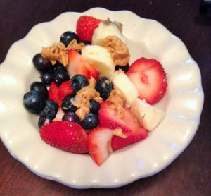 fruit with peanut butter