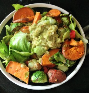 salad with sweet potatoes and chick pea avocado mash