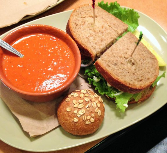 Panera Tomato Soup and Veggie Sandiwch