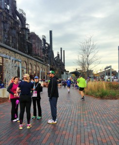 waiting by the steel stacks