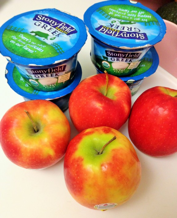 Stonyfield Yogurt and apples