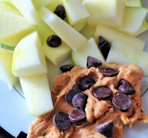 apples peanut butter chocolate chips