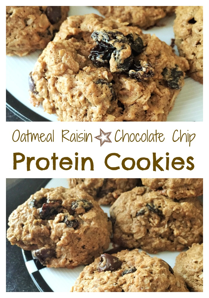 oatmeal raisin chocolate chip protein cookies