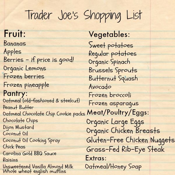 trader joe's shopping list