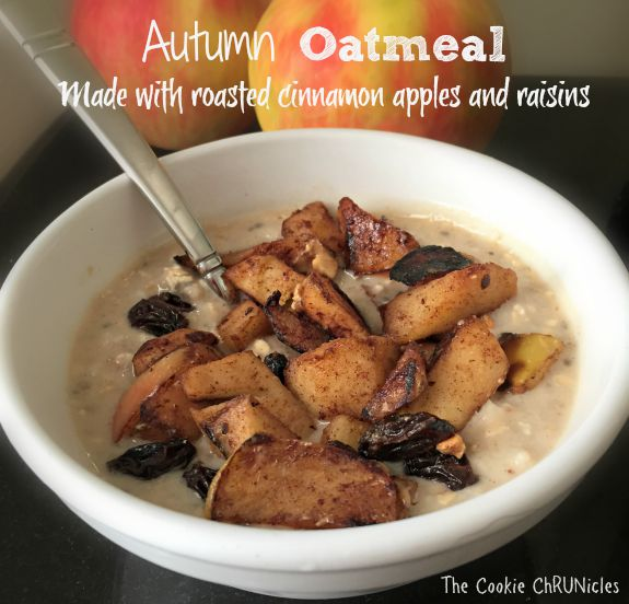 autumn oatmeal made with roasted cinnamon apples and raisins