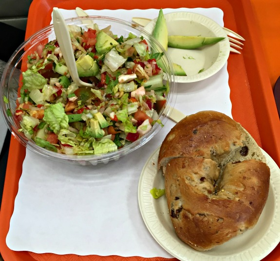 bagel and salad