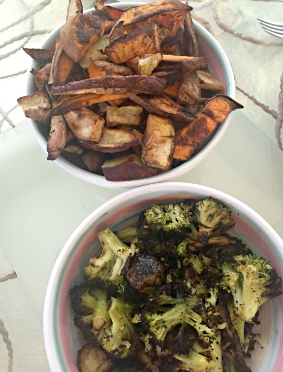 roasted vegetables and roasted potatoes