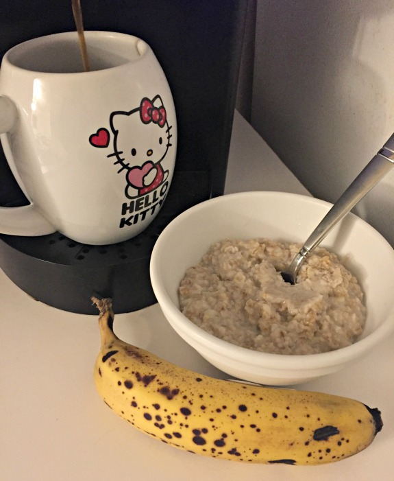 pre-run oatmeal banana and coffee