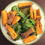 veggie burger with roasted sweet potatoes and broccoli