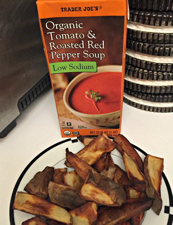 roasted red papper tomtato soup and baked fries