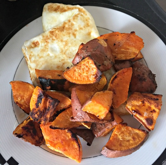 eggs with roasted sweet potatoes