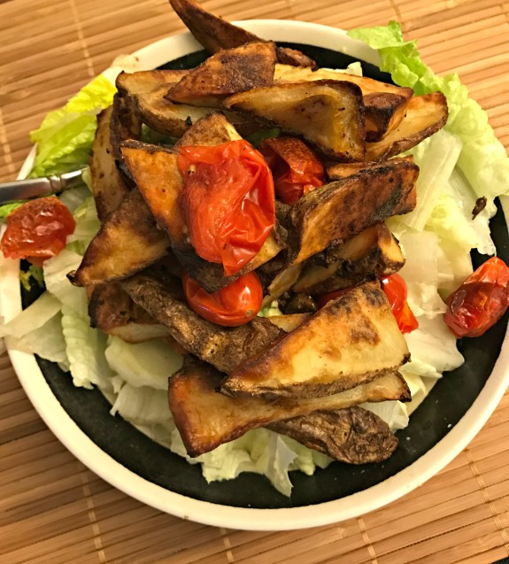 salad with potato wedges