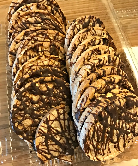chocolate drizzled rice cakes