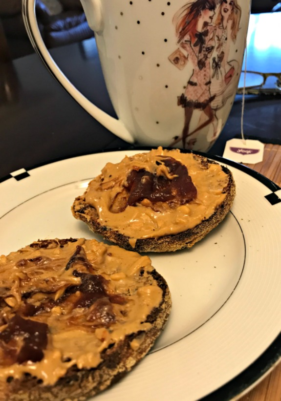 English muffin with peanut butter and jelly