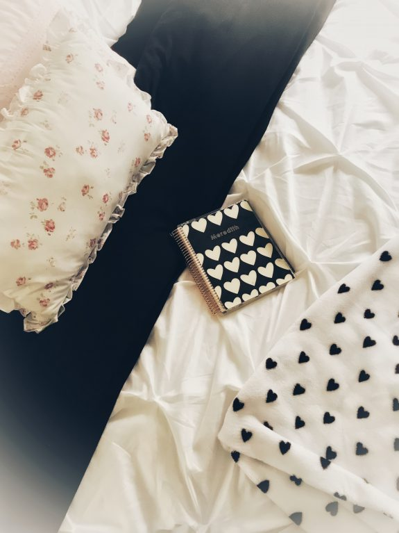 black white pink bedding