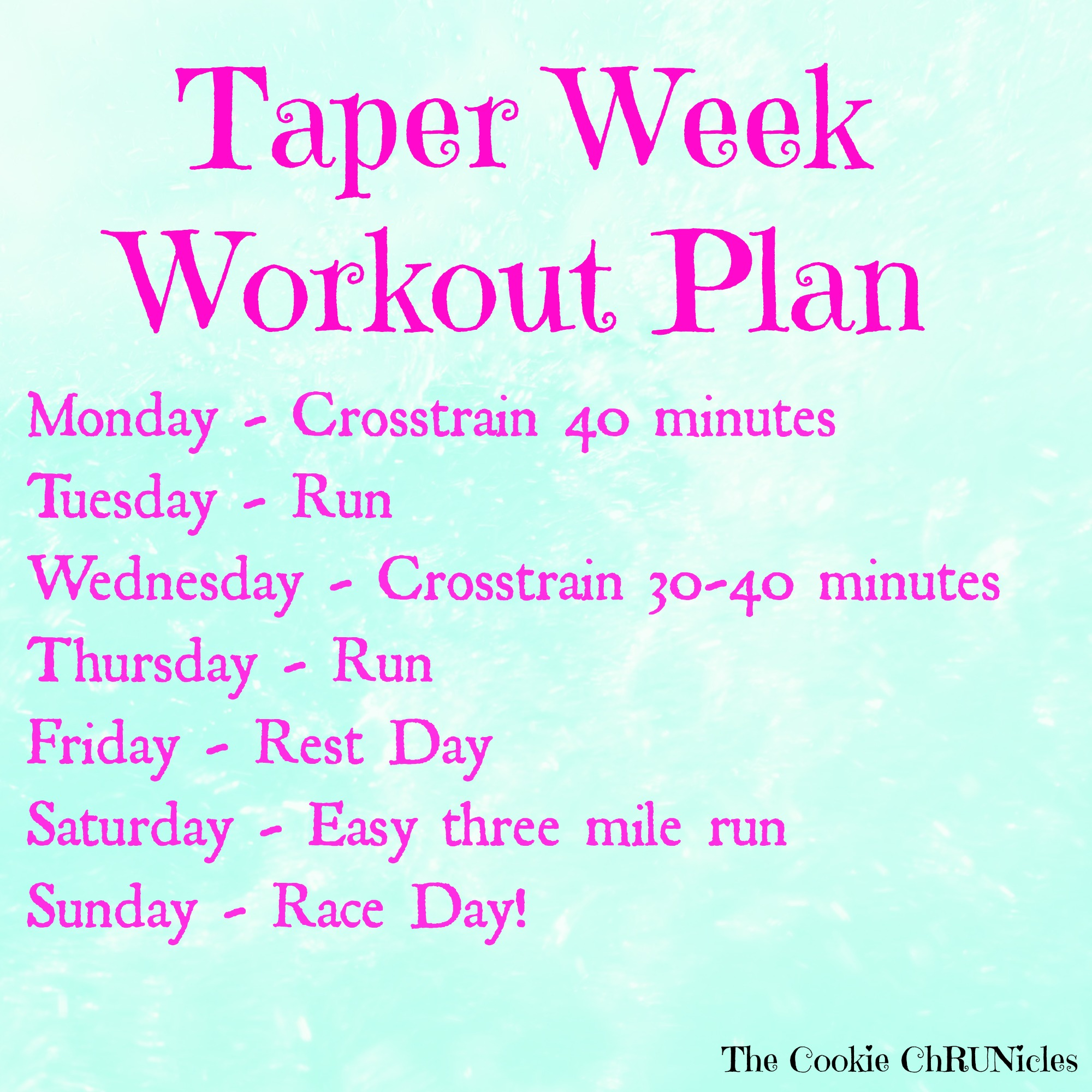 981724a451fc Taper Week Workouts And Race Day Essentials - The Cookie ChRUNicles
