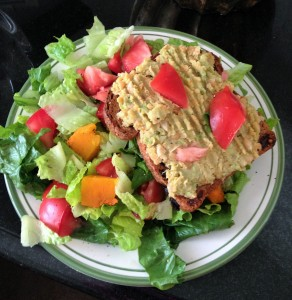 avocado chick pea on ezekiel bread with salad