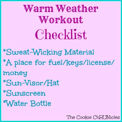 warm weather workout checklist