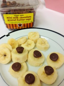 banana with peanut butter cups