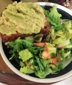 chick pea avocado mash on ezekiel bread