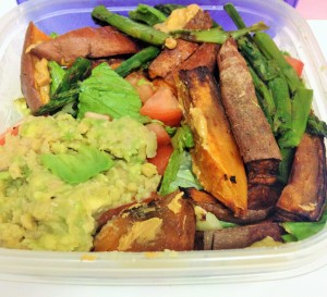 sweet potatoe wedges with salad