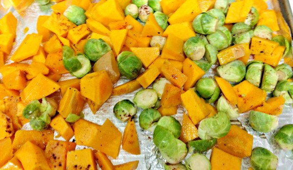 roasted butternut squash with brussels sprouts
