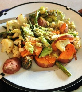 roasted veggies sweet potatoes