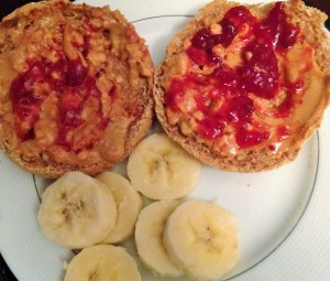 peanut butter and jelly english muffins