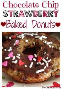 chocolate chip strawberry baked donuts