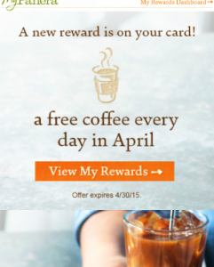 free panera coffee