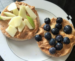 english muffin with peanut butter and fruit