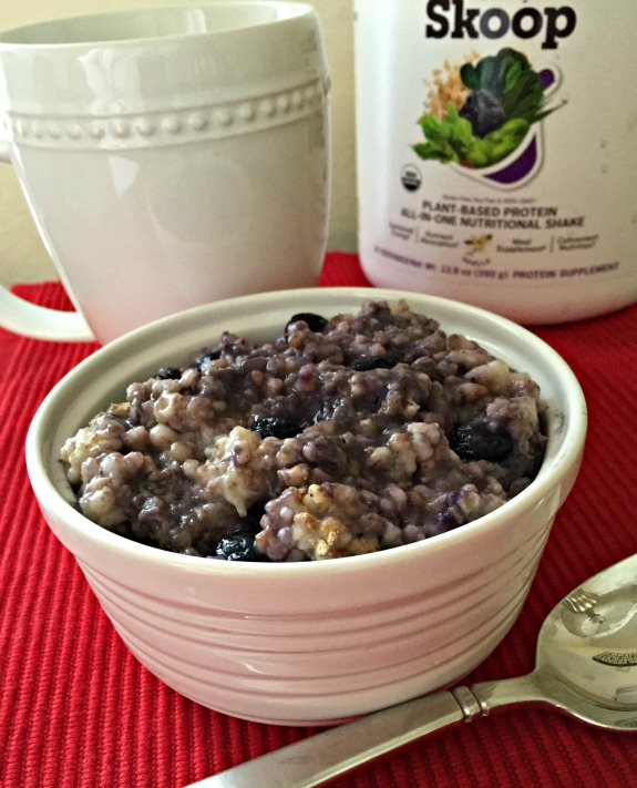 Blueberry Pie Protein Oatmeal made with Skoop All In One Nutritional Shake