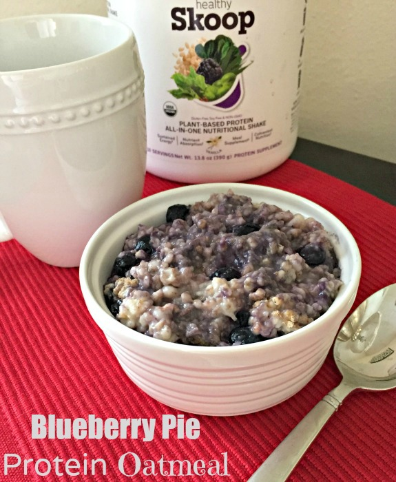Blueberry Pie Protein Oatmeal made with Skoop's Plant Based Protein All In One Nutritional Shake gives you everything you need to recover from your run and power you through the morning