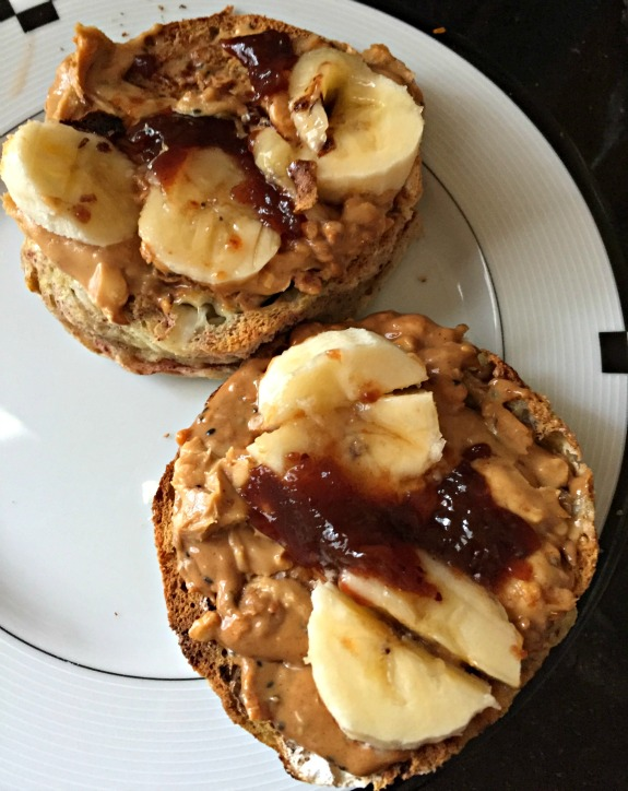 grain free english muffin with peanut butter