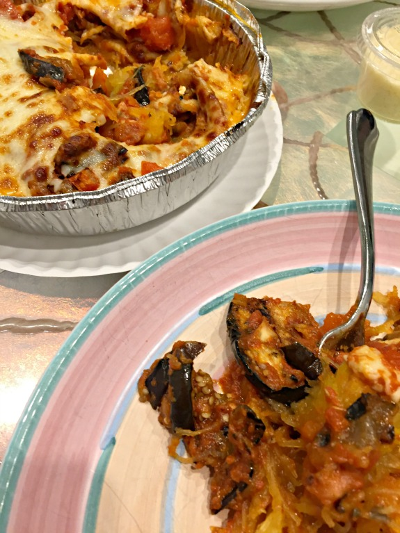 mother kelly's grilled eggplant over spaghetti squash