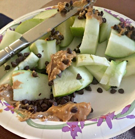 apple with peanut butter and chocolate chips