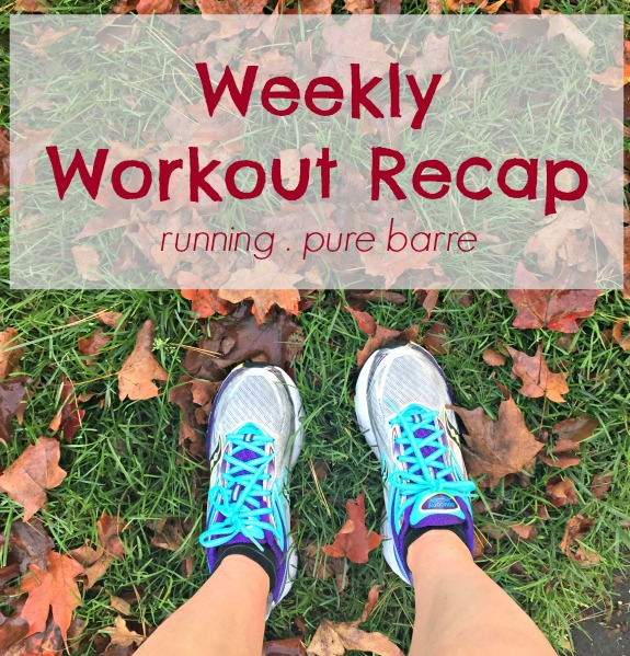 a look at my week in workouts including running and pure barre