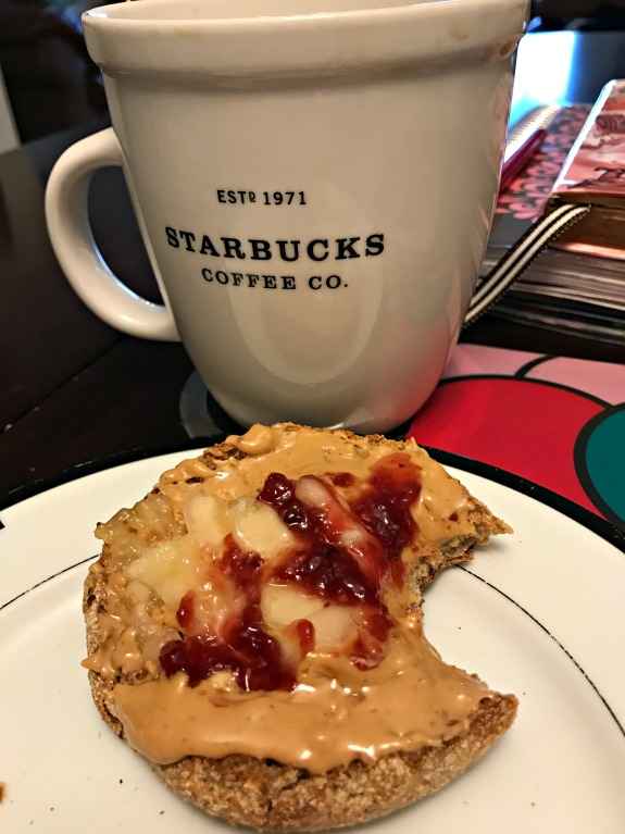 coffee plus english muffin with peanut butter