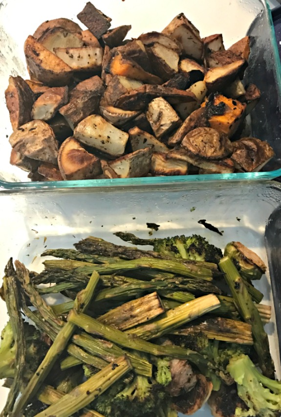 roasted vegetables and potatoes
