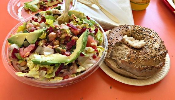 salad and bagel from town bagel