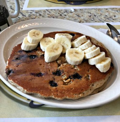 blueberry walnut whole wheat pancakes
