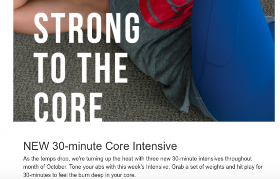 Pure Barre on demand core workout