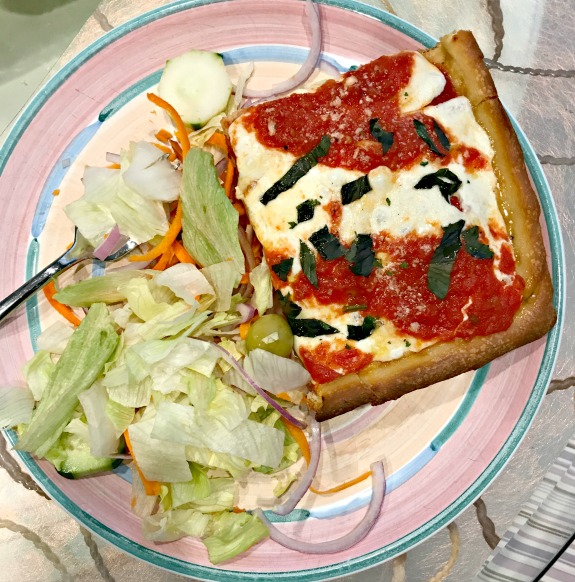 grandma pizza and salad