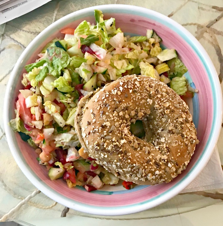salad with bagel