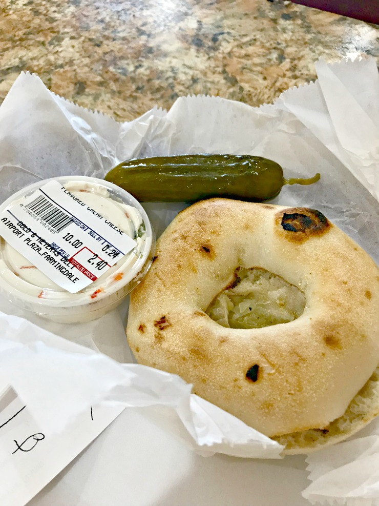 bialy with veggie cream cheese