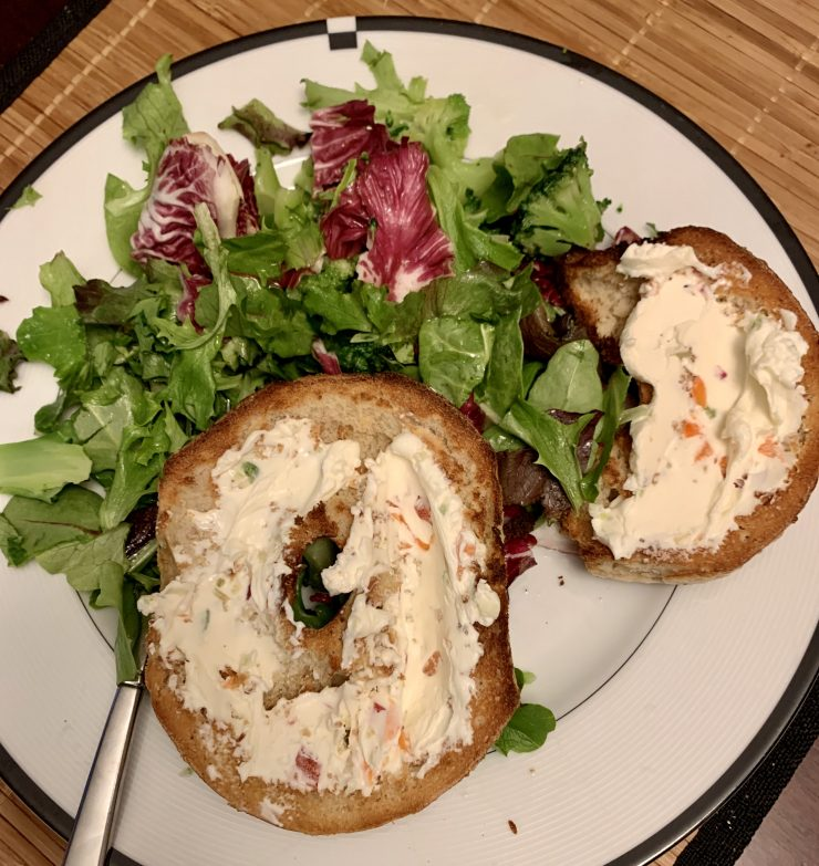 whole wheat bagel vegetable cream cheese