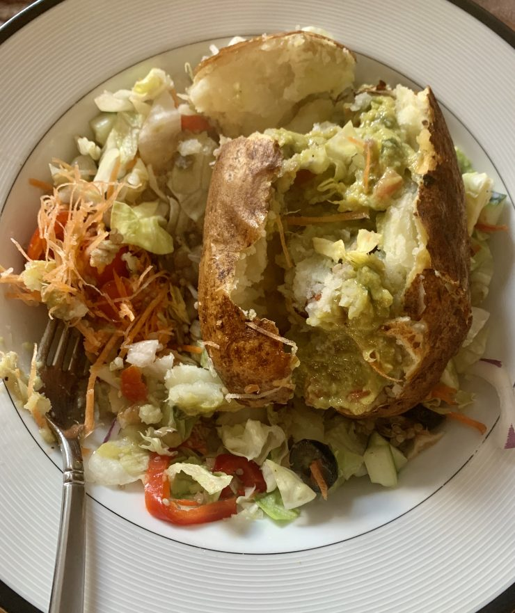 salad with baked potato