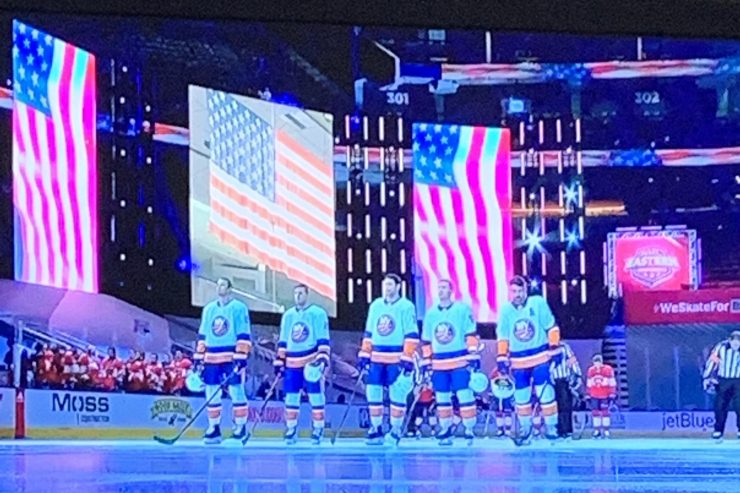 islanders stand for flag