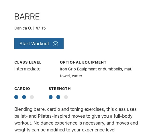 barre workout from lifetime
